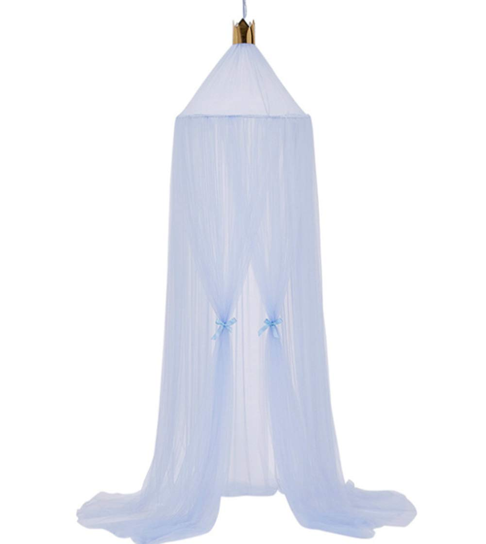 WPNAKS Bed Canopy for Baby Girls Princess Dome Round Lace Mosquito Net Play Tent Hanging House Decoration Lace Netting Curtains for Toddler (Blue)