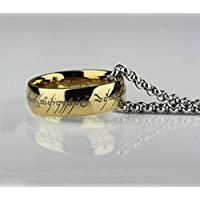 phitak shop Lord of the Rings Stainless Steel Bilbos Hobbit Gold Ring & Chain Mens Band (14)