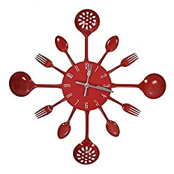 Wall Clocks - Wall Clock Modern Design Housewares Cutlery Red - Sounds Cool Under Music Digital Hour Oval Atomic Cute Numbers Operated Glow Country Temperature Farmhouse Contemporary Cherry Metal