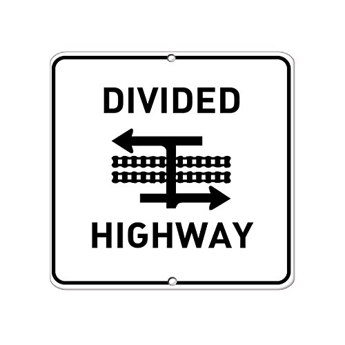 Divided Highway Symbol Traffic Aluminum METAL SIGN 12 in x 12 in (Divided Highway Sign)