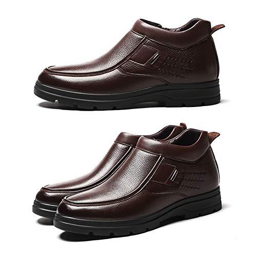 Calzado Tamaño Us Velvet Shoes Informal Plus color Para Y Brown Hombre Brown Uk Winter Lxla Men Zipper 9 8 Alto For Cálido Cuero Hombre De Hw4Pdq1A