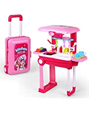 Portable Toy Play Set Cute Kitchen / Doctor / Tool Playset Fun Cooking Toy / Medical Kits / Bench Building for Toddlers (Kitchen Playset)