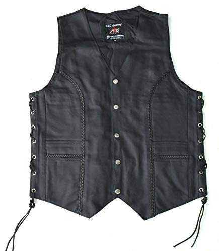 ARD Premium Quality Mens Braided Side Lace Motorcycle Black Leather Vest S-6XL (X-LARGE)