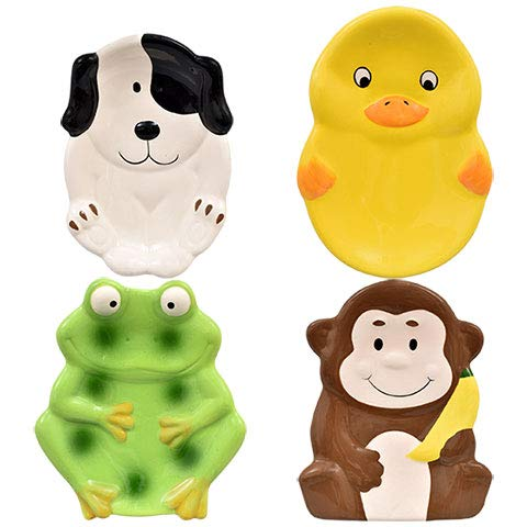 Animal Friends 4 Ceramic SOAP Dishes Monkey, Frog, Dog, Duck by Animal Friends