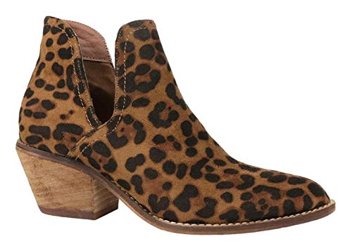 Beast Fashion Sunny-01 Women Western Short Ankle Pointed Toe Booties Boots (8, Leopard)