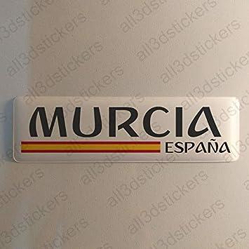 Pegatina Murcia España Resina, Pegatina Relieve 3D Bandera Murcia España 120x30mm Adhesivo Vinilo: Amazon.es: Coche y moto