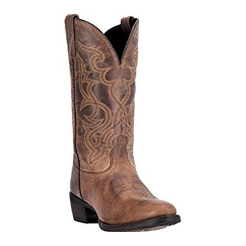 Laredo Women's 11'' Maddie Distressed Round Toe Western Casual Boots, Tan Leather, 11 W - 11' Brown Boot