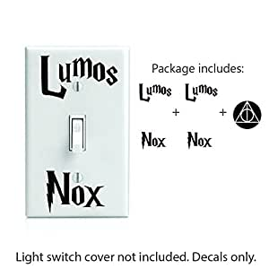 "Lumos Nox inspired 2x Light Switch and Bonus 2"" Deathly Hollows Decal Sticker. # 494"