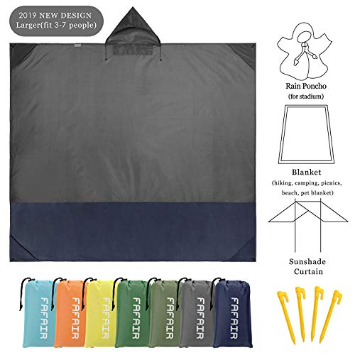(FAFAIR Multifunctional Outdoor Stadium Windproof Picnic Blanket - Hooded Coat Design, with Storage Bag & 4 Stakes (Gray&Dark)