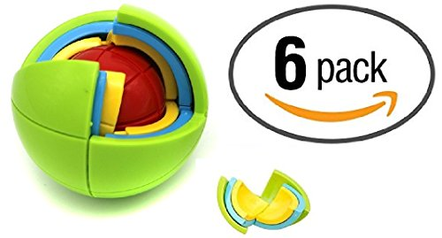6 Pack Puzzle Ball 3D Spherical Puzzle 21 Pcs Toy Great Party Favors Set For Kids Ages 6 Plus