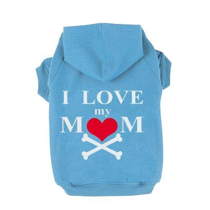 EXPAWLORER I Love My Mommy Dog Cat Fleece Sweatshirt Hoodies Costumes Blue XL (Crazy Dog Costumes)