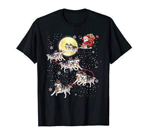 Huskies Santa - Santa Sleigh Siberian Husky Shirt Christmas Dog Lover Gift