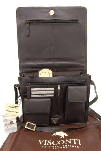 apto y portátil para organizador Kindle ATLANTIC 754 iPad Marrón cuero bandolera Visconti de Bolso Chocolate xPRwZw07
