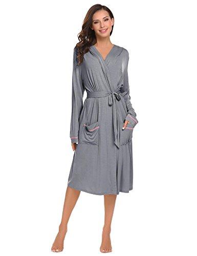 Ekouaer Womens Bathrobe Hooded Robes Long Sleeve Contrast Piping Hoodie Spa  Robe 8e9d464f5