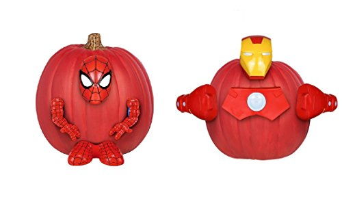 Set of 2 Disney Push-In Pumpkin Decorating Kits (Spiderman & Iron -