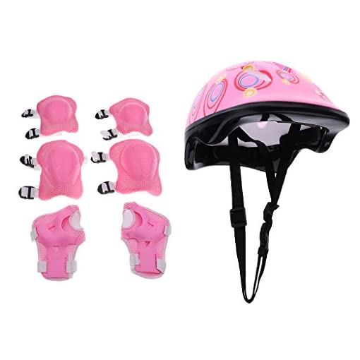 Jili-Online-7-Pieces-Kids-Child-Multi-Sport-Helmet-With-Knee-Pads-Elbow-Wrist-Protection-Set-for-Skateboard-Cycling-Skate-Scooter-Pink