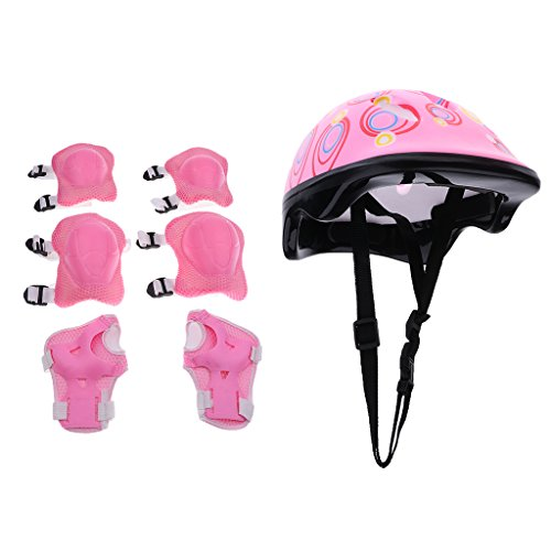 Jili Online 7 Pieces Kids Child Multi-Sport Helmet With Knee Pads Elbow Wrist Protection Set for Skateboard Cycling Skate Scooter - Pink by Jili Online