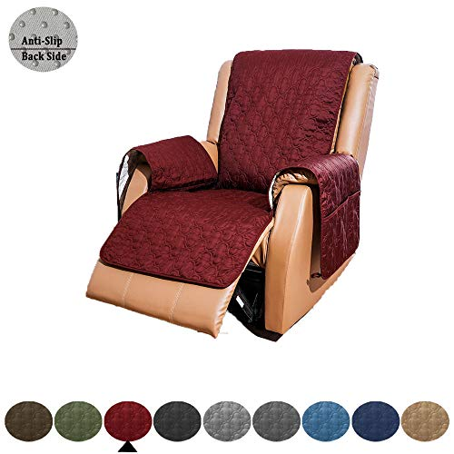 "RBSC Home Sofa Slipcovers for 30 Inch Recliners 100% Waterproof Quilted Thick and Long Enough to Cover The Footrest Part, Premium Couch Covers for Dogs, Cats and Kids (30"" Recliner, Burgundy)"