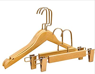WWZY Solid wood hangers Flat hook Adult Clothing store Gold Non-slip Hanger Pants rack /pack of 20