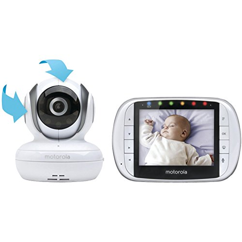Motorola MBP36S Remote Wireless Video Baby Monitor with 3.5-Inch Color LCD Screen, Remote Camera Pan, Tilt, and...
