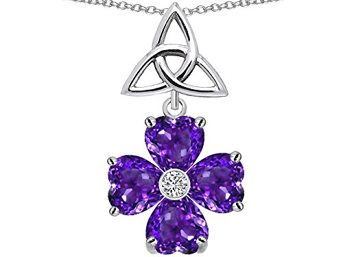 Star K Lucky Shamrock Celtic Knot Made with Heart 6mm Simulated Amethyst Pendant Necklace Sterling Silver ()