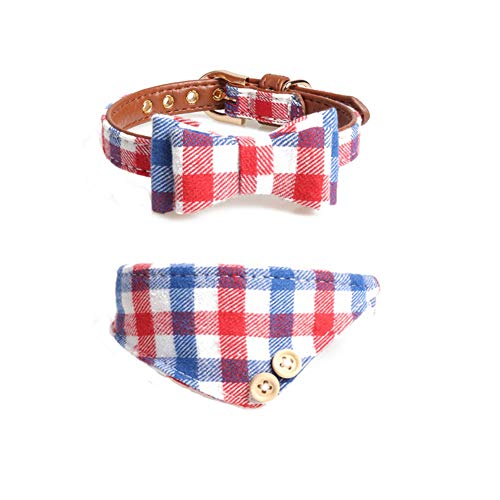 Delifur Cat Dog Collar Leather Pet Bandana Bow tie 2 Pack Adjustable Classic Plaid Scarf for Puppy Kitten (Medium, Blue Plaid)