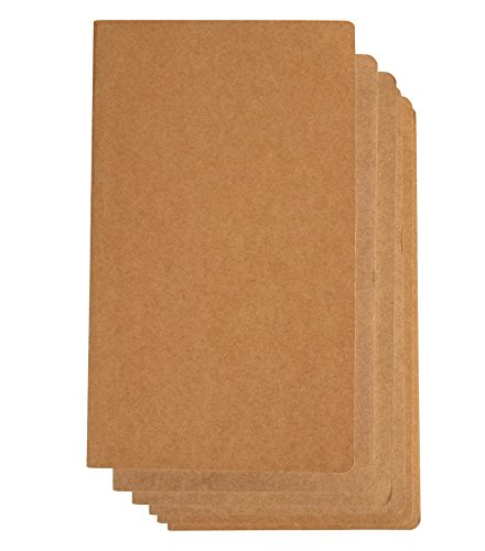 Kraft Notebook - 6-Pack Lined Grid Notebook Journals, Pocket Journal for Travelers, Diary, Notes - Soft Cover, 80 Pages, Brown, 9.75 x 5.75 Inches by Paper Junkie