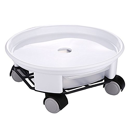 rescozy 14'' Heavy Duty Round Plant Caddy with Wheels and Water Container, White by rescozy