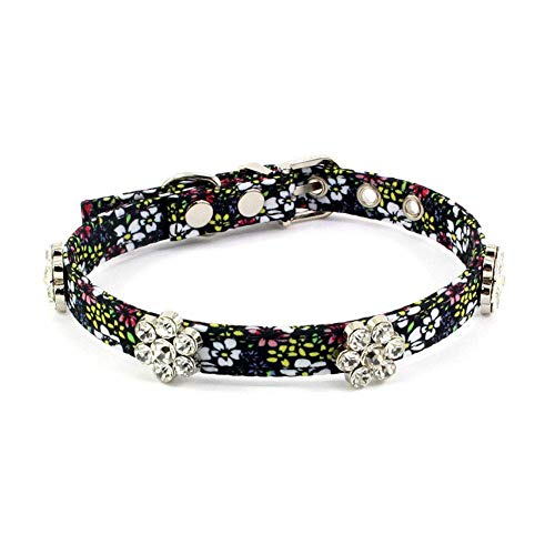 PetFavorites Rhinestone Floral Dog Cat Collar - Bling Dog Birthday Jewelry for Small Dogs Girl - Female Chihuahua Yorkie Clothes Costume Accessories, Adjustable Buckle (Pattern B, Size M)