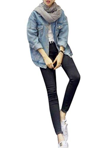 Denim Col revers Manche Blansdi Trench Femme Coat Longue Blouson Loisirs Bouton Vintage Outwear lache Veste Jacket Bleu Automne qEnzU