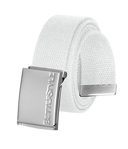 BetterStylz Holloway Unisex Gürtel Canvas Stoffgürtel für Damen und Herren (Weiß)