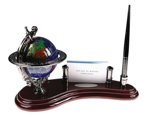 Bluestone Designs W010N Gemstone Globe Pen Stand with Cardholder