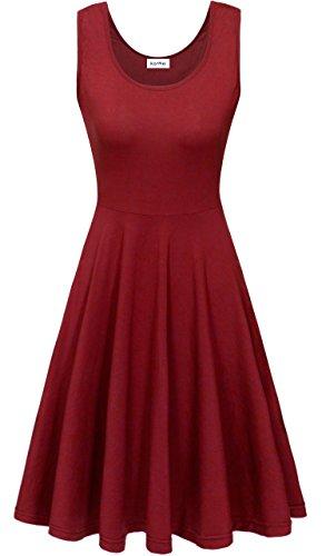 KorMei - Vestido - trapecio - Estrellas - Cuello redondo - Sin mangas - para mujer borgoña