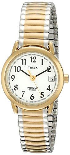 Timex - Reloj de banda de expansión de acero inoxidable de dos tonos T2H381 Easy Reader para mujeres
