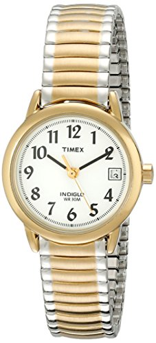 Timex Women's T2H381 Easy Reader Two-Tone Stainless Steel Expansion Band Watch (Ladies Two Tone White Dial)