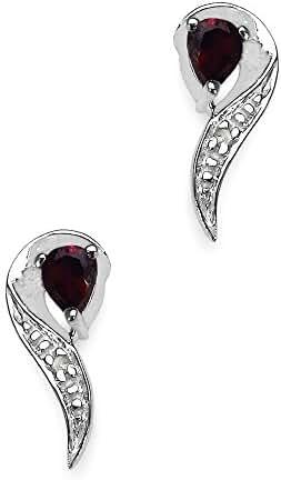 Silvancé - Women's Earrings - 925 Sterling Silver - Genuine Gemstone: Garnet - E300G_SSR