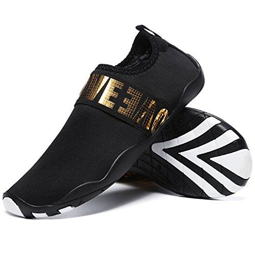 L-run Unisex Scarpe Trampoli Allaperto Mutifunctional Sport Mesh Traspirante Casual Flat-heeled Black_gold