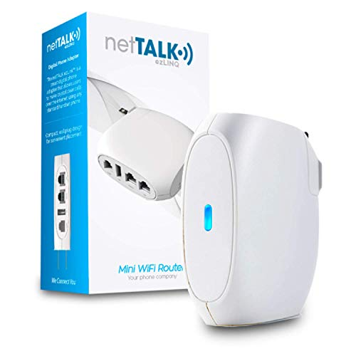 netTALK ezLINQ Mini WiFi Router with VoIP for Internet Phone Service | Wireless Internet Hotspot and WiFi Boost Signal Repeater Mode Capabilities