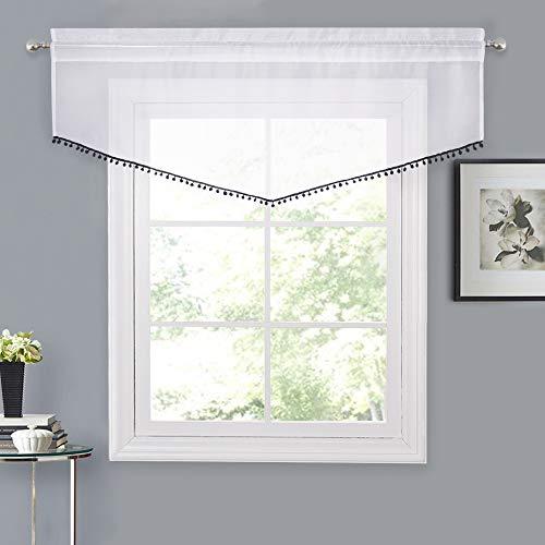 NICETOWN Bordered White Sheer Valance - Voile Drape with Black Pom-Pom Ascot Design Window Curtain for Cafe Decor (White Sheer + Black Pompoms, 54
