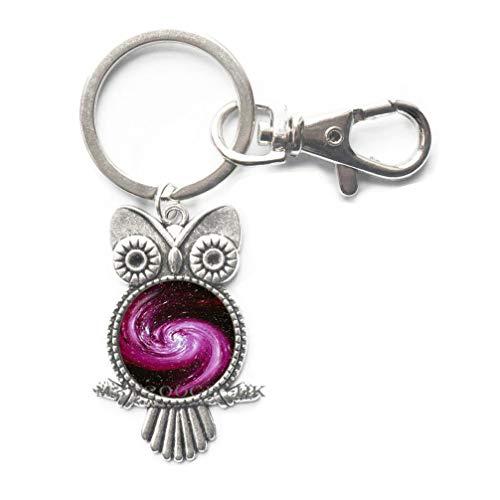 - Fashion Green and red Galaxy Key Ring Owl Keychain Glass cabochon Art Photo Cluster Star Jewelry Silver Chain Nebula Neckless women-MT292 (W1)