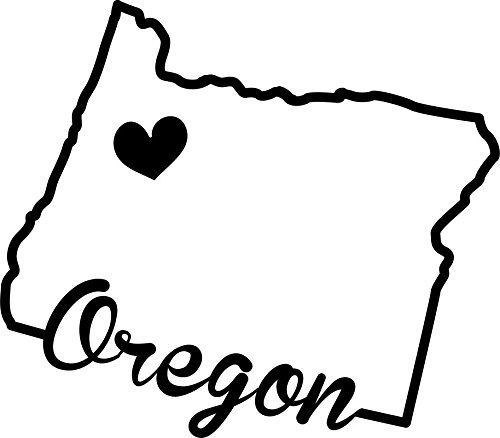 ND390 State Of Oregon Script Decal Sticker   5.5-Inches By 4.8-Inches   Premium Quality Black Vinyl