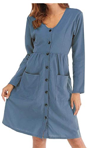 Line Button with Dress Pockets Casual Lake Midi Blue Women A Sleeve Down Neck V Dresses Long Maweisong nvXBOYw