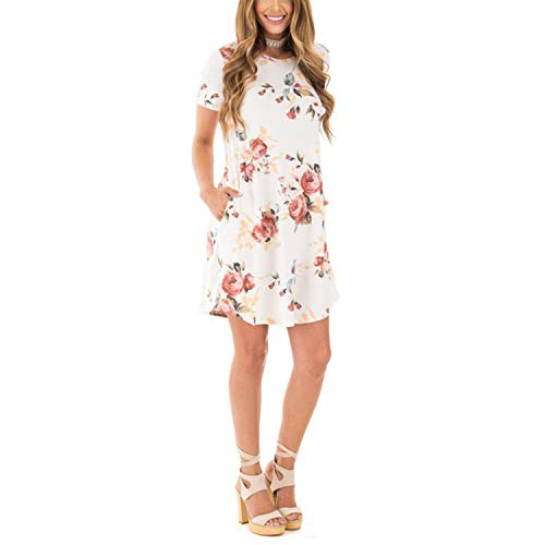 Summer O-Neck Women Mini Dress Floral Print Short Sleeve Dresses Party Vestido H6,White,M ()