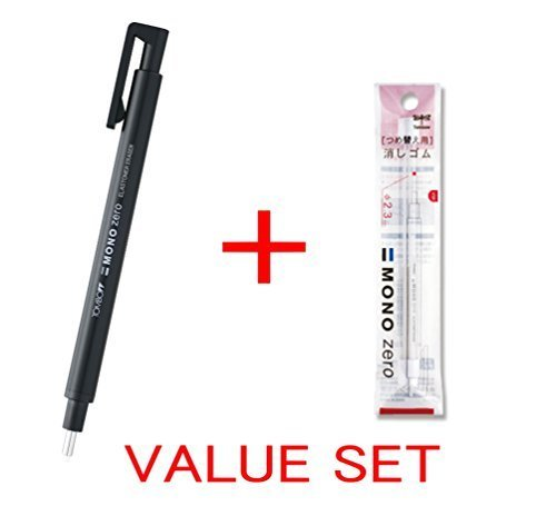 Tombow MONO Zero Eraser, Round Tip 2.3mm, Retractable, Black Barrel & 2 Conformity Refills Value Set(With Our Shop Original Product Description)