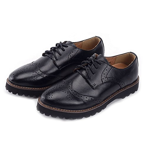 Black Leather Casual Oxfords - Oyangs Oxford Shoes Women Womens Oxfords Wingtip Women Oxford Wingtip Black Dress Flat Brown Laces Leather Casual Wing Suede Vintage Shoes Oxford E299 (US9, B)