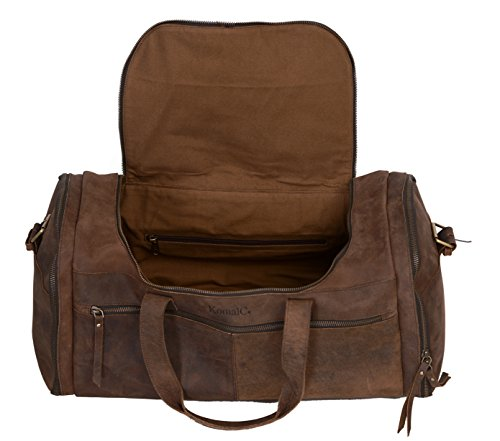 KomalC 21 inch U Zip Duffel holdall Travel Sports Overnight Weekend Leather Bag for Gym Sports Cabin by KomalC