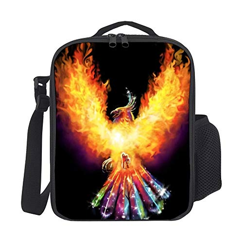 SARA NELL Kids Lunch Backpack Lunch Box Fire Phoenix Tie Dye Tail Lunch Bag Large Lunch Boxes Cooler Meal Prep Lunch Tote With Shoulder Strap For Boys Girls Teens Women Adults