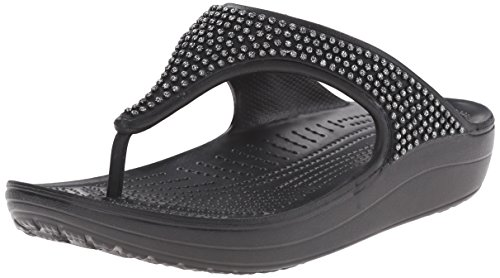 Crocs Womens Sloane Diamante Flip Flop Nero