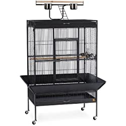 Prevue Pet Products Wrought Iron Select Bird Cage 3154BLK, Black Hammertone, 36-Inch by 24-Inch by 66-Inch