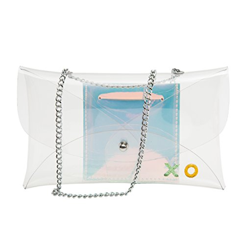 Zarapack bolsa transparente de PVC transparente de la mujer crossbody bolsa de hombro con personalizada Opción, Clear Bag with Inner Bag (transparente) - BA927 Customized Clear Bag with Inner Bag